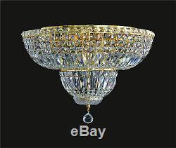 BRAND NEW Crystal 10-LIGHT Flush Mount-Style Chandelier (D20 x H16) Gold Frame