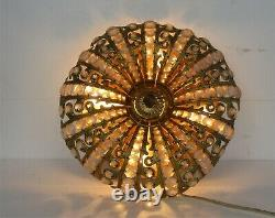 Beaded French Crystal Flush Mount Shade Plafonière Ceiling Fixture Amber Clear