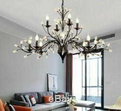 Bedroom Chandelier Candle Light LED E14 Adjustable Chain Crystal Iron Black Lamp