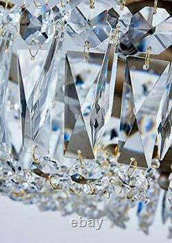 Bestier Antique Silver French Empire Crystal Semi Flush Mount Chandelier