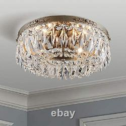 Bestier Antique Silver French Empire Crystal Semi Flush Mount Chandelier LED for