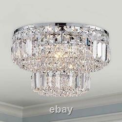 Bestier Modern Chrome Crystal Flush Mount Chandelier Lighting LED Ceiling Light