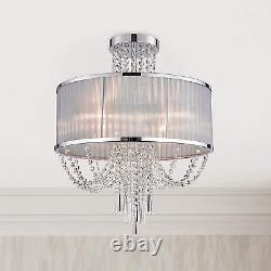 Bestier Modern Chrome Crystal Raindrop Drum Chandelier Lighting Semi Flush Mount