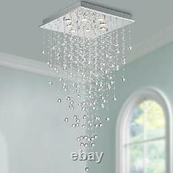 Bestier Modern Crystal Raindrop Chandelier Lighting Flush Mount LED Ceiling