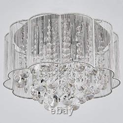 Bestier Modern Crystal Raindrop Drum Chandelier Lighting Flush Mount LED Ceiling