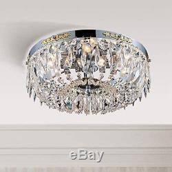 Bestier Modern French Empire Chrome Crystal Semi Flushmount Chandelier Lighting