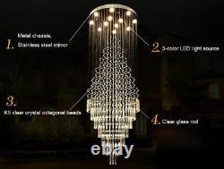 Bonzer Modern Clear K9 Crystal Flushmount Chandelier Ceiling Light Fixture #8936