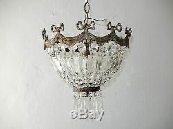 C 1930 French Empire Bronze Bows Crystal Prisms Flush Mount Chandelier