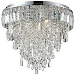 CGC Chrome Crystal Chandelier Modern 6 Light Droplet Flush Ceiling Mount Pendant