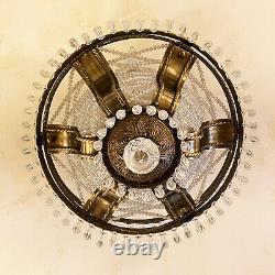 CRYSTAL BRONZE PENDANT CEILING Chandelier Light Semi Flush Mount Lighting Round