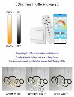 Chandelier Dimmable Crystal Lights Modern Smart LED Lighting Remote Control Lamp