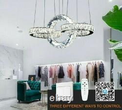 Chandeliers Dimmable Rings Lights LED APP Control Crystal Modern Stainless Steel