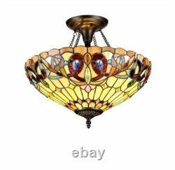 Chloe CH33353VR16-UF2 Tiffany-style Victorian 2 Light Semi-flush Ceiling Fixture