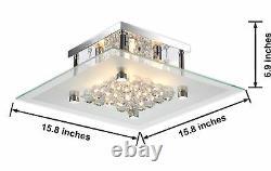 Chrome & Crystal Flush Mount Chandelier Glam Ceiling Square Light Glass Shade