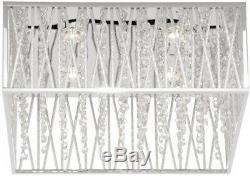 Chrome withGlass Beads Flush Mount Lamp Square Chandelier 4-Light Ceiling Fixture