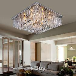 Clear Crystal Flush Mount Ceiling Light Spectacular Square Chandelier Lamp