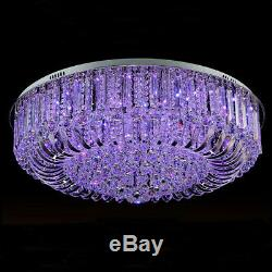 Contemporary Luxury Clear Crystal Glass LED Round Ceiling Light Flush Mount Home