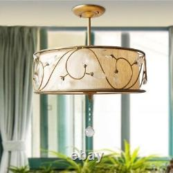 Country Style Solid Brass Round Crystal Semi Flush Mount 1 Lamp Fabric Shade Art