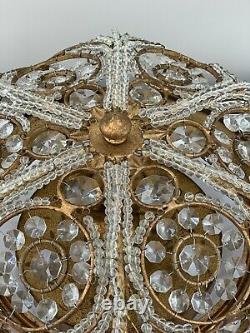 Crystal Beaded Baguette Flush Mount Chandelier Gilt Metal Maison Bagues Style