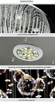 Crystal Chandelier Ceiling Living Room Lobby Lamp Luxury Lighting Fixture Remote