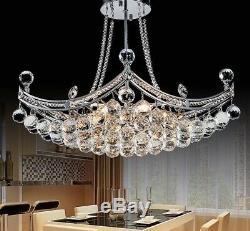 Crystal Chandelier Lighting Fixture Flush Mounted Polished Chrome Elegant Decors