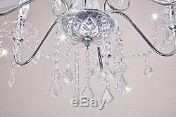 Crystal Chandelier Lighting Flush Mount Raindrop LED Ceiling Pendant Light