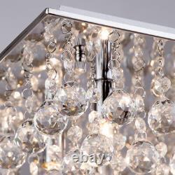 Crystal Effect Ceiling 8 Light Flush Mount Square G9 Fitting in Chrome Litecraft