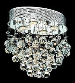 Crystal Flush Mount Chandelier Dining Living Room Bedroom Hallway 4 Light 16