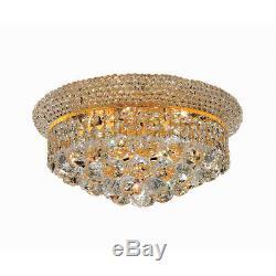 Crystal Flush Mount Chandelier Gold Hallway Bedroom Bathroom Fixture 6 Light 14