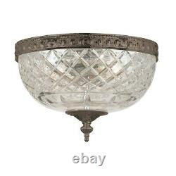 Crystorama 2 Light Bronze Crystal Ceiling Mount 117-8-EB