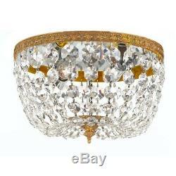 Crystorama 2 Lt Clr Italian Crystal Olde Brass Ceiling Mt 8x5.5' 708-OB-CL-I