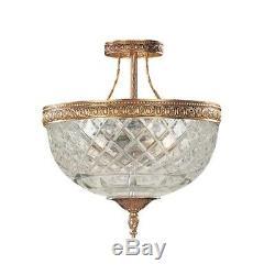 Crystorama 3 Light Brass Crystal Ceiling Mount 10x12' 118-10-OB