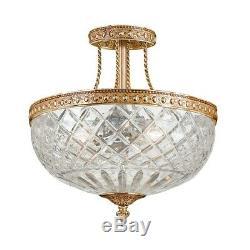 Crystorama 3 Light Brass Crystal Ceiling Mount II 118-12-OB
