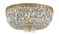 Crystorama 3 Light Clear Italian Crystal Brass Flush Mount