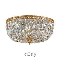 Crystorama 3 Light Clear Italian Crystal Brass Flush Mount 712-OB-CL-I