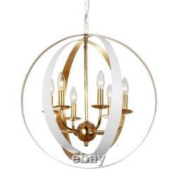 Crystorama Luna 6 Light White & Gold Sphere Large Chandelier 585-MT-GA