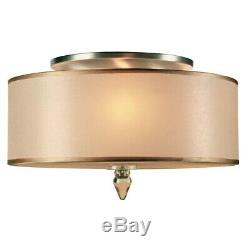 Crystorama Luxo 3 Light Drum Shade Brass Flush Mount 9503-AB