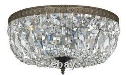Crystorama Richmond Collection 3-light English Bronze/Crystal Semi-flush Pendant