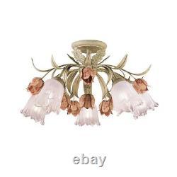 Crystorama Southport 5 Light Sage Rose Floral Semi-Flush 4800-SR