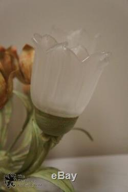Crystorama Southport 5 Light Sage Rose Floral Semi-Flush #4800-SR Wrought Iron
