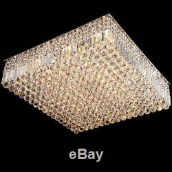 Cuboid-Shaped Crystal Flush Mount Ceiling Light for Living Area Decorative Lamp