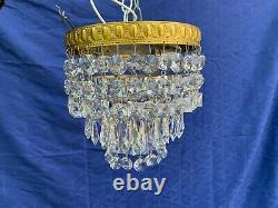 Custom Swarovski Crystal Chandelier, 8 Round, Gold/Brass, Ceiling Flush Mount