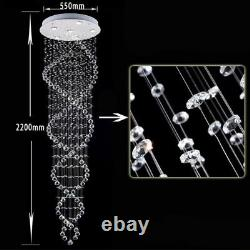Double Spiral Crystal Chandelier Foyer Staircase Bedroom Hotel Hall Hanging Lamp