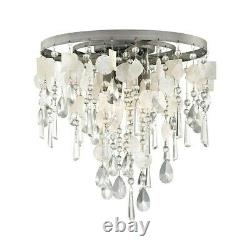 ELK Lighting Alexandra 3-Light Semi Flush, Zinc/Crystal & Capiz Shells 15931-3
