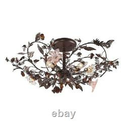 ELK Lighting Cristallo Fiore 3-LT Large Semi Flush, Rust/Clear & Amber 7046-3