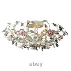 ELK Lighting Heritage 3-Light Semi Flush, Cream/Porcelain Roses 18096-3