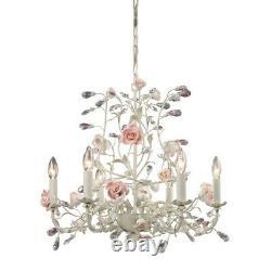 ELK Lighting Heritage 6-Light Chandelier, Cream/Porcelain Roses 8092-6