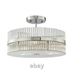ELK Lighting Nescott 3-Light Semi Flush, Chrome/Crystal Rods 45285-3