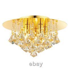 ENDON Renner 5 Light Champagne Crystal Glass & Gold Plate Flush Ceiling Light