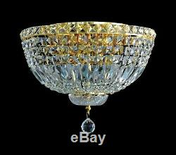 Elegant Flush Mount Chandelier In GOLD Finish (D16 x H10) with Clear Crystals